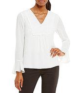 Calvin Klein Georgette Long Sleeve Bell Cuff Hi-Low Hem Blouse