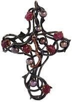 Delfina Delettrez Ruby freshwater pearl silver thorn cross pendant