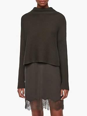 AllSaints Eloise Funnel Neck Jumper Dress, Military Green