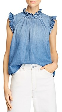 Frame Ruffled Button-Back Denim Top