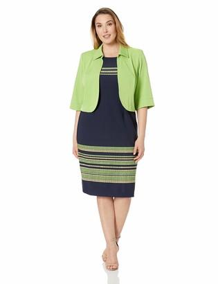 Maya Brooke Women's Plus Size Stripe Border Jacket Dress