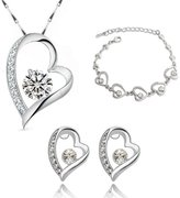 MAFMO Luxury Love Heart Jewelry Set Wedding Crystal Necklace Earrings Ring