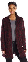 Anne Klein Women's Leather Trim Leopard Sweater Cardigan