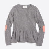 J.Crew Factory Girls' peplum popover sweater with heart elbow patches