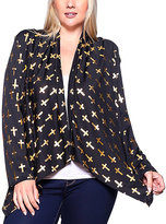 Black & Gold Cross Drape Open Cardigan - Plus