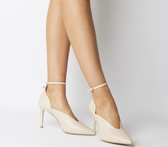 Office Hot Toddy Ankle Strap Shoe Boots Cream Leather