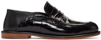 Loewe Black Croc Slip-On Loafers