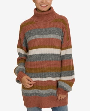 Hippie Rose Juniors' Turtleneck Tunic Sweater