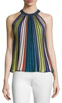 M Missoni Sleeveless Vertical-Striped Top, Black/Metallic
