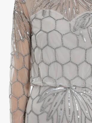 Gina Bacconi Katherine Embellished Hexagon Print Maxi Dress