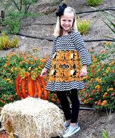 Beary Basics Black & White Chevron & Witch Pattycake Dress - Toddler & Girls