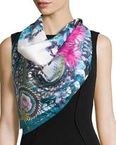 Givenchy Square Paradise Flower Silk Chiffon Scarf, Blue/Pink