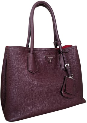 Prada Double Burgundy Leather Handbags