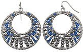 Jules B Blue Stones set in Patterned Silver Statement Hoop Earrings
