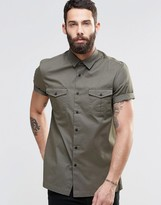 Asos Military Shirt In Khaki With Short Sleeves