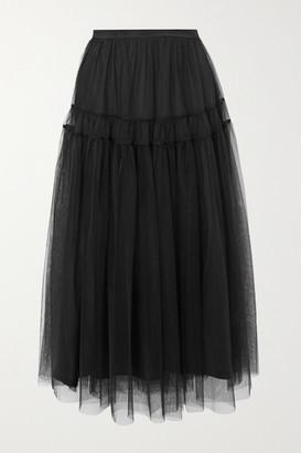 Molly Goddard Lottie Tiered Gathered Tulle Midi Skirt - Black