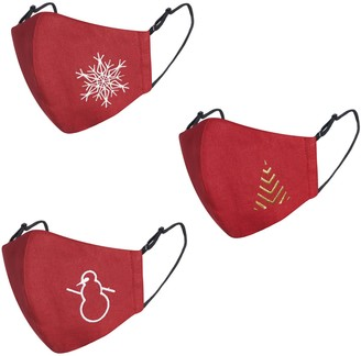 Face My Mask Pack Of 3 Ruby red Linen Cotton Face Mask With Filter Pocket & Christmas Embroidery