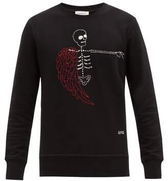 Alexander McQueen Skeleton Embroidered Cotton Sweatshirt - Mens - Black Multi