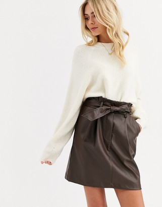New Look paperbag faux leather mini skirt in dark brown