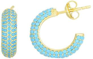 Sphera Milano 14K Gold Plated Sterling Silver Pave Turquoise CZ 12mm Huggie Hoop Earrings
