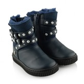 Paul Smith Girls Navy Leather & Suede Pearl Strap Boots