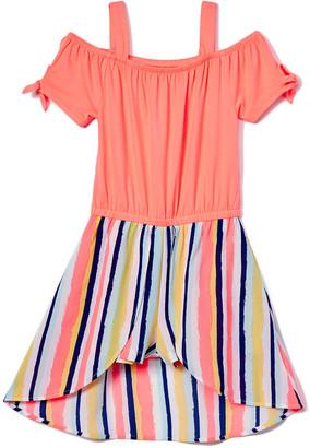 One Step Up Girls' Rompers CORAL - Coral Powder Stripe Tie Sleeve Walk-Through Romper Dress - Toddler & Girls