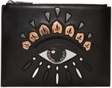 Kenzo Black Leather Embroidered Eye Pouch