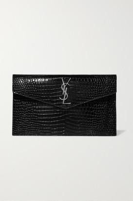 Saint Laurent Uptown Croc-effect Patent-leather Pouch - Black