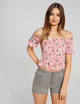 Dotti Dillon Shirred Shoulder Crop Top
