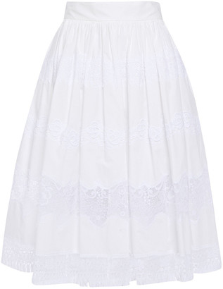 Dolce & Gabbana Flared Guipure Lace-paneled Cotton-blend Skirt