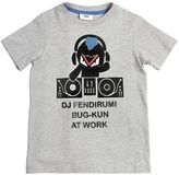 Fendi Flocked Printed Cotton Jersey T-Shirt