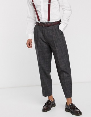 Shelby & Sons wide tapered fit smart trouser with double pleat in grey heritage check