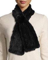 La Fiorentina Mink Fur Pull-Thru Scarf w/ Rosette, Black