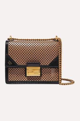 Fendi Kanu Small Perforated Leather Shoulder Bag - Brown