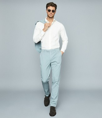 Reiss WORLD Cotton-blend slim-fit blazer Light Blue