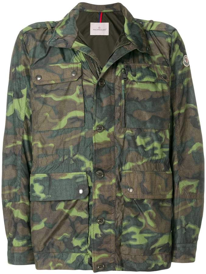 Moncler camouflage zipped jacket