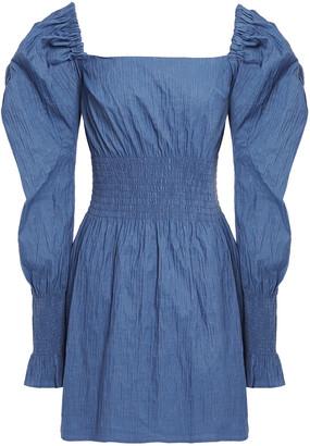 ANNA QUAN Shirred Stretch-jacquard Mini Dress