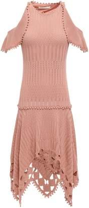 Jonathan Simkhai Pompom-trimmed Cold-shoulder Modal And Cotton-blend Dress
