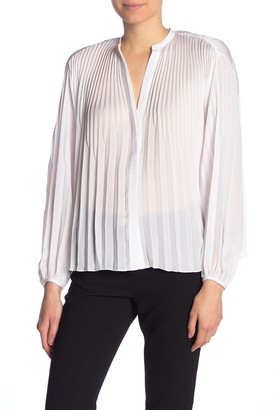 Vince Solid Pleated Balloon Sleeve Blouse