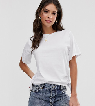 Asos Tall DESIGN Tall t-shirt with ruched side-White