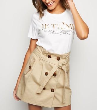 New Look Pink Vanilla Tie Waist Button Front Mini Skirt