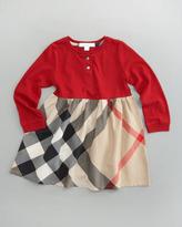 Burberry Henley Check-Skirt Dress, Military Red
