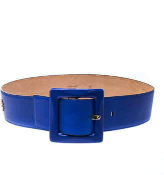 Roberto Cavalli Blue Leather Waist Belt 90cm