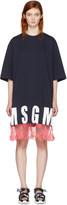 MSGM Navy Lace Hem Logo T-Shirt Dress