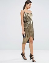 Asos Asymmetric Wrap Front Midi Metallic Dress