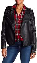 Bagatelle Belted Faux Leather Biker Jacket
