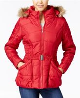 Rampage Faux-Fur-Trim Hooded Belted Puffer Coat, Only at Macy's
