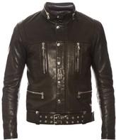 Balmain Concealed-hood leather biker jacket