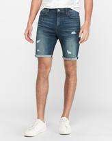 Express Medium Wash Hyper Stretch Ripped Jean Shorts
