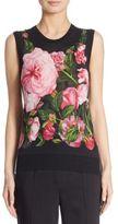 Dolce & Gabbana Rose-Print Silk & Cashmere Shell